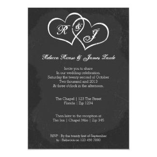 Boda del Doodle del corazón de la pizarra Invitación 12,7 X 17,8 Cm