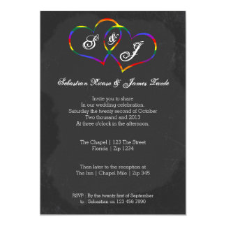 Boda del Doodle del corazón del arco iris del Invitación 12,7 X 17,8 Cm