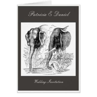 Boda del elefante negro y blanco tarjeta de felicitación