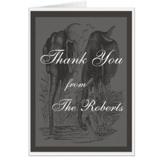 Boda del elefante negro y blanco tarjeta pequeña