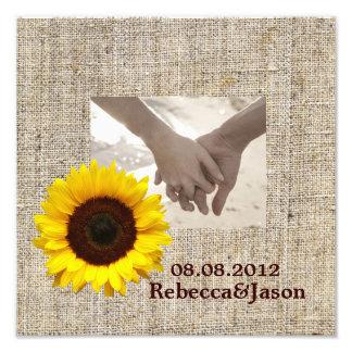 boda del girasol del amarillo de la arpillera del  fotografias