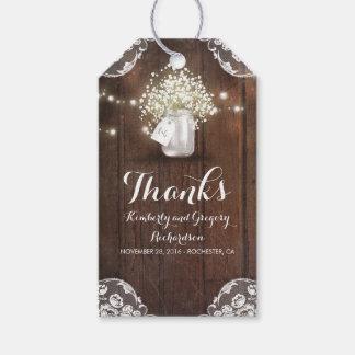 Boda del granero del tarro de albañil de la etiquetas para regalos