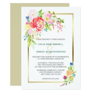 Boda del marco del oro del ramo de la primavera invitación 12,7 x 17,8 cm
