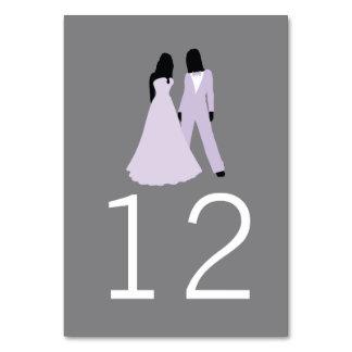 Boda del número de la tabla de dos novias (lila y