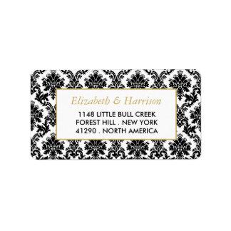 Boda del oro del vintage, negro y blanco del etiquetas de dirección