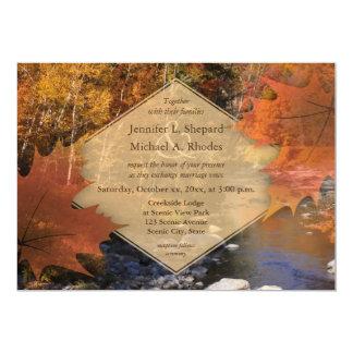 Boda del otoño de la hoja de arce de maderas de invitación 12,7 x 17,8 cm