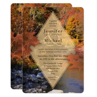 Boda del otoño de las hojas de arce de maderas de invitación 12,7 x 17,8 cm