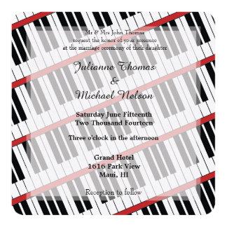 Boda del piano invitación 13,3 cm x 13,3cm