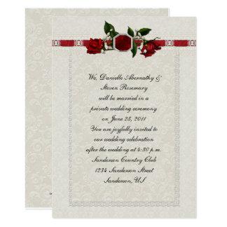 Boda del poste de la cinta de los rosas de rubíes invitación 12,7 x 17,8 cm