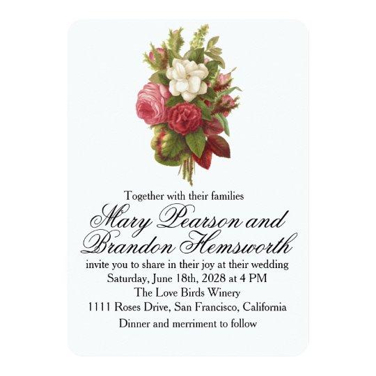 Boda del ramo floral del vintage invitación 12,7 x 17,8 cm