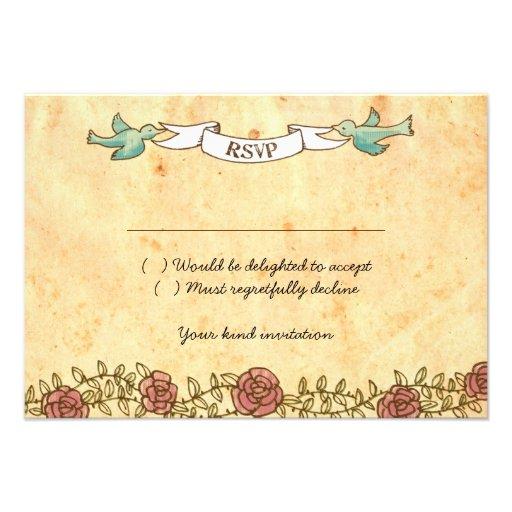 Boda del rock-and-roll (rosas) RSVP con los sobres Comunicado Personal