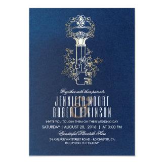 Boda del vintage de la llave maestra de la marina invitación 12,7 x 17,8 cm