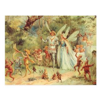 Boda del vintage de Thumbelina y del príncipe Tarjeta Postal