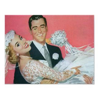 Boda del vintage, novia que lleva del novio, invitación 10,8 x 13,9 cm
