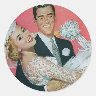 Boda del vintage, novia que lleva del novio, recie etiquetas