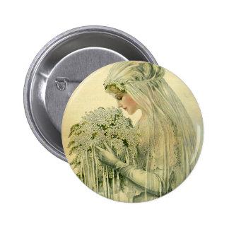 Boda del vintage, retrato nupcial de la novia del chapa redonda de 5 cm