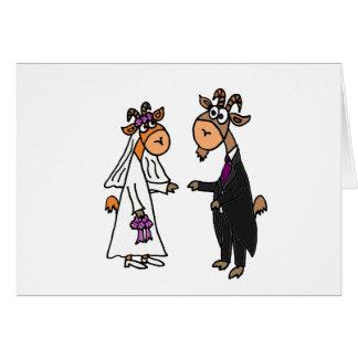 Boda divertido de la cabra de novia y del novio tarjeta de felicitación