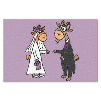 Boda divertido de novia y del novio de la cabra papel de seda