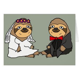 Boda divertido de novia y del novio de la pereza tarjeta de felicitación
