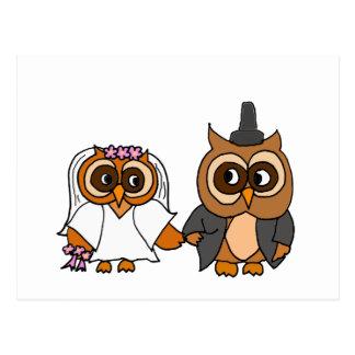 Boda divertido de novia y del novio del búho postal