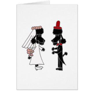 Boda divertido de novia y del novio del caniche tarjeta de felicitación