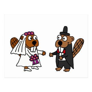 Boda divertido de novia y del novio del castor postal
