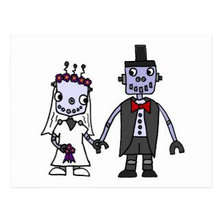 Boda divertido de novia y del novio del robot postal