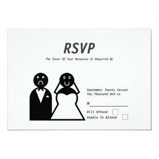 Boda divertido del novio triste feliz de la novia invitación 8,9 x 12,7 cm