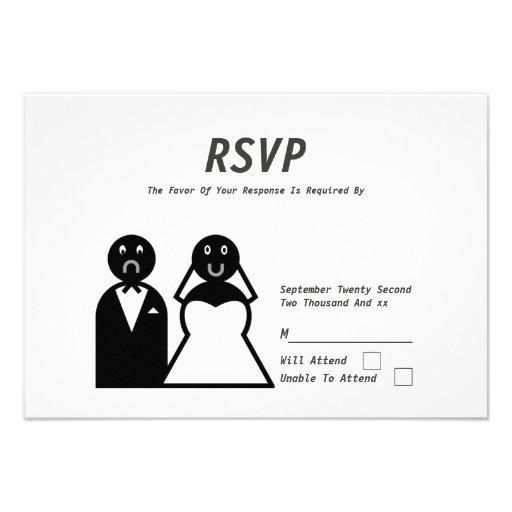Boda divertido del novio triste feliz de la novia invitación