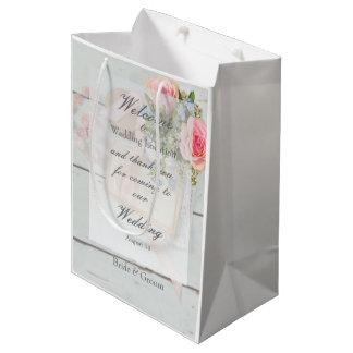 Boda editable del vintage de la flor romántica de bolsa de regalo mediana