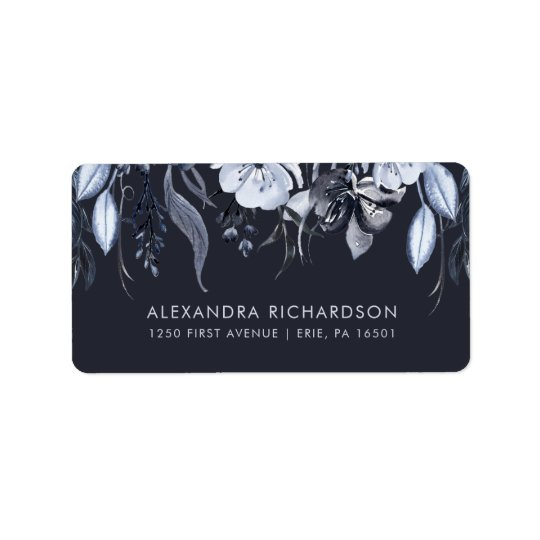 Boda el | azul floral oscuro de la acuarela etiquetas de dirección
