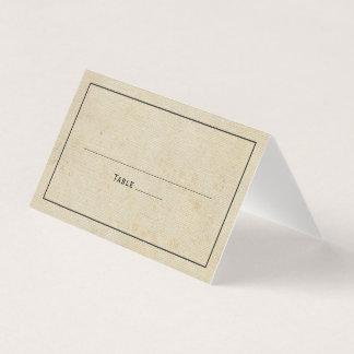 Boda elegante de la arpillera rústica del vintage tarjeta de asiento
