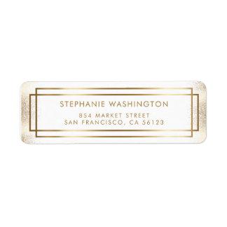 Boda elegante de la frontera del blanco y del oro etiqueta de remitente