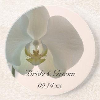 Boda elegante de la orquídea posavasos de arenisca
