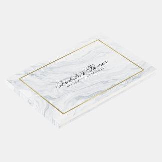 Boda elegante de la textura del mármol y del oro libro de visitas