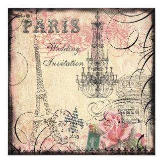 Boda elegante de la torre Eiffel y de la lámpara Invitación 13,3 Cm X 13,3cm