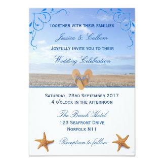 Boda elegante de las estrellas de mar y de playa invitación 12,7 x 17,8 cm