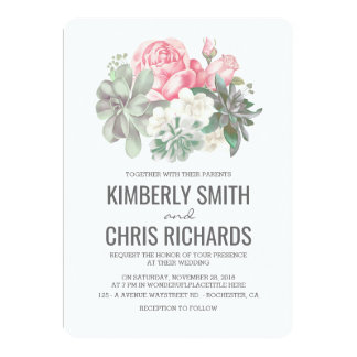 Boda elegante de los Succulents y de las flores Invitación 12,7 X 17,8 Cm
