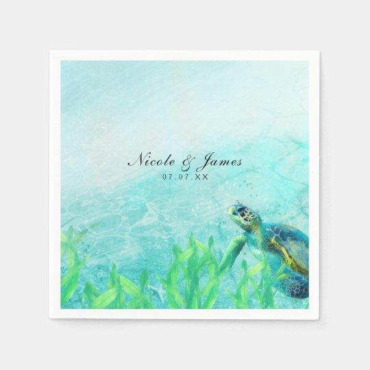 Boda elegante del arte de la playa del océano de servilletas desechables