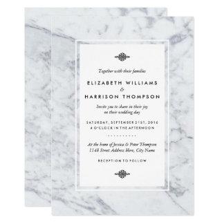 Boda elegante del mármol del vintage invitación 12,7 x 17,8 cm