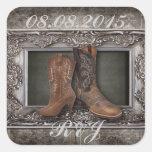boda elegante del país de las botas de vaquero del calcomania cuadradas personalizadas