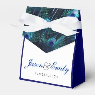 Boda elegante del pavo real del azul real caja de regalos