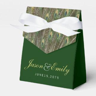 Boda elegante del pavo real del verde esmeralda y caja de regalos