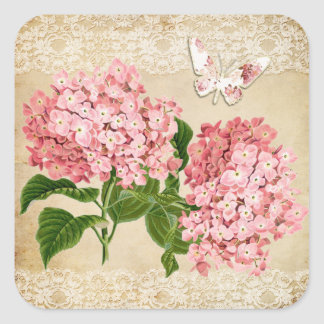 Boda elegante lamentable de la mariposa rosada del pegatina cuadrada