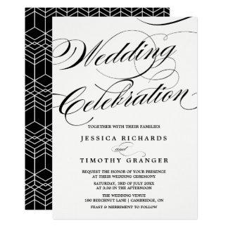 Boda elegante negro y blanco de la escritura de la invitación 12,7 x 17,8 cm