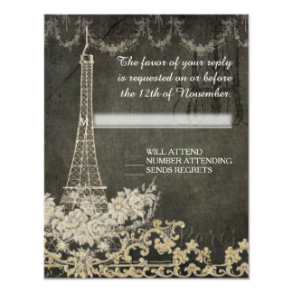 Boda elegante parisiense de París del vintage de Invitación 10,8 X 13,9 Cm