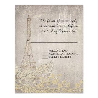 Boda elegante parisiense de París del vintage gris Invitación 10,8 X 13,9 Cm