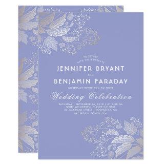 Boda elegante púrpura de la lavanda del follaje invitación 12,7 x 17,8 cm