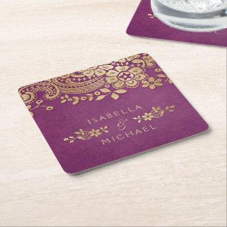 Boda elegante púrpura del cordón del vintage del posavasos cuadrado de papel
