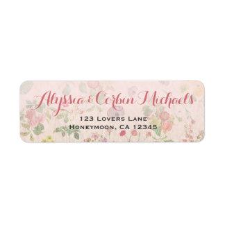 Boda elegante romántico rosado floral del vintage etiqueta de remitente